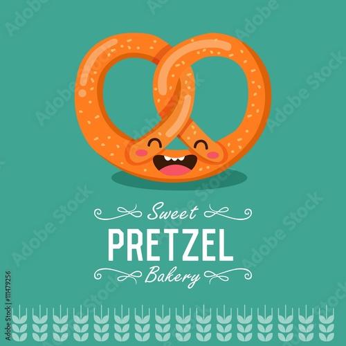 Fun Cartoon Pretzel Bakery And Pastry Cartoon Character Vector