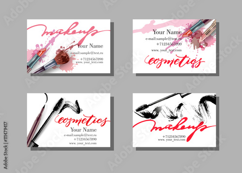 Makeup artist business card vector template with makeup items makeup artist business card vector template with makeup items pattern brush pencil reheart Image collections