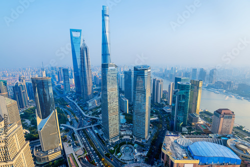 Shanghai Skyline with its newly built  iconic skyscrapers. Wallpaper Mural
