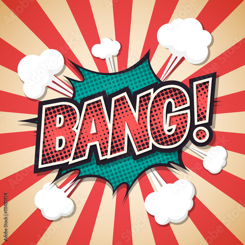 Photo  bang, Comic explosion speech bubble. bang text. Vector illustrat
