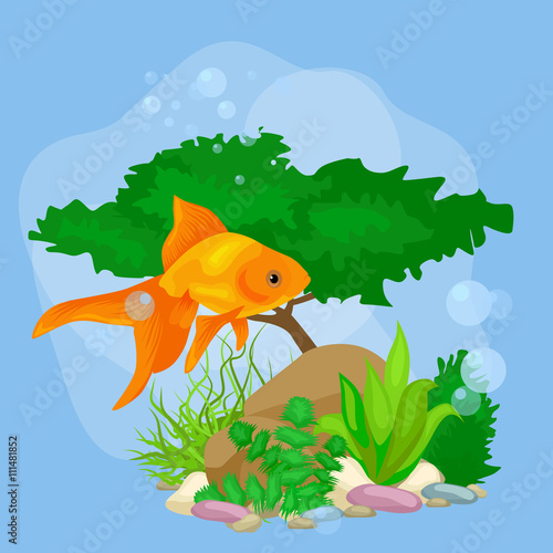 Tuinposter Dinosaurs Underwater vector world background with fish, seaweed and bubbles