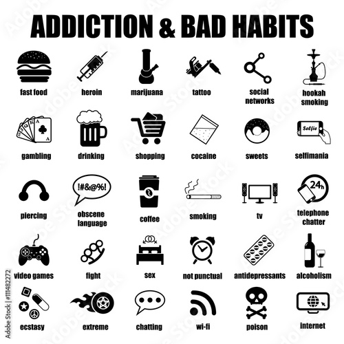 Fotografia  addiction and bad habits icons set