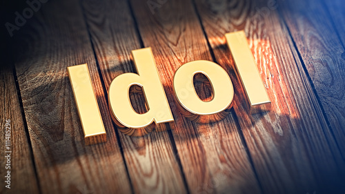 Photo  Word Idol on wood planks