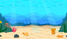 Cartoon Sea, Ocean. The Seabed...