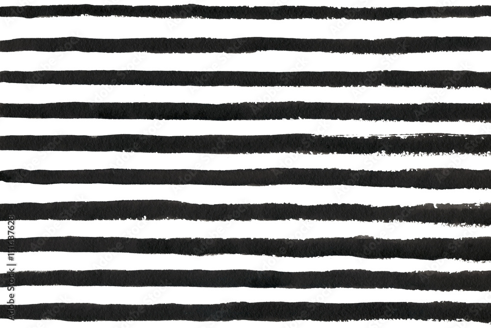 Watercolor black stripe grunge pattern.