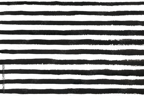 Fotografie, Obraz Watercolor black stripe grunge pattern.