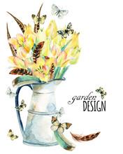 Watercolor Flower Garden Card