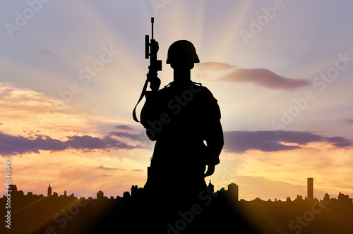Recess Fitting Military Silhouette of a terrorist with a weapon