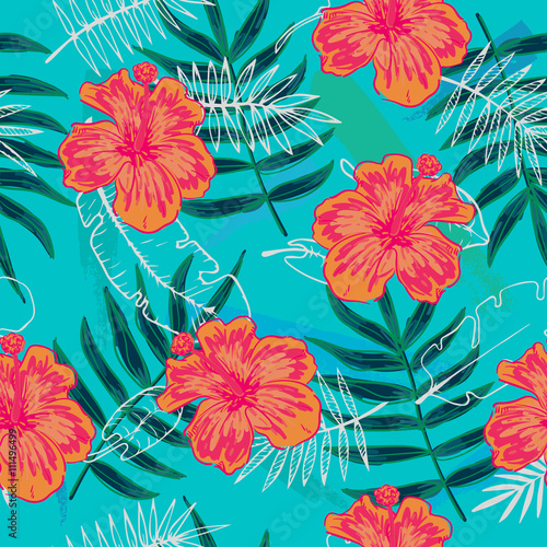 Türaufkleber Künstlich Summer colorful seamless pattern with tropical plants and hibiscus flowers
