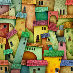 Panel Szklany Fantasy Multicolored background with bright houses