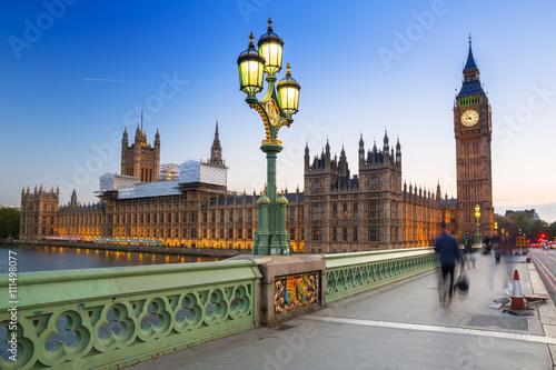 Big Ben and Westminster Bridge in London at dusk, UK Wallpaper Mural