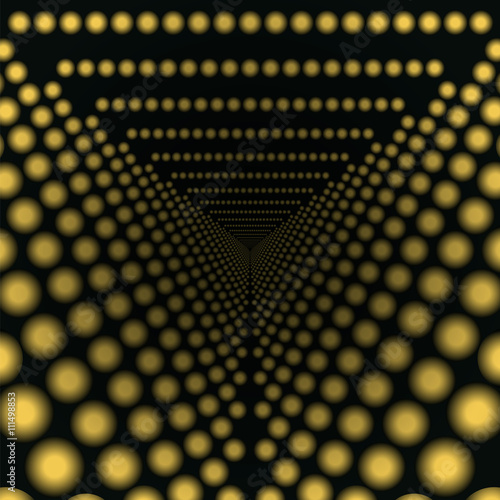 Fotografia, Obraz  Abstract geometric background with glowing circles receding into the distance