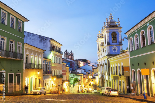 Aluminium Prints Brazil Colourful colonial houses at the historical district of Pelourinho in Salvador, Bahia, Brazil.