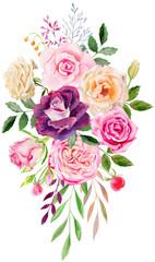 Fototapetahand painted watercolor mockup clipart template of roses