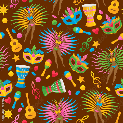 Cotton fabric Brazilian carnival background vector illustration.