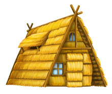 Old Cartoon Hay House - Isolated - Illustration For The Children