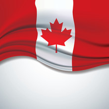 Vector Canada Flag Blowing In The Wind On White Background
