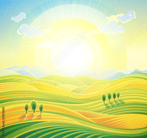 Photo Stands Yellow Landscape background. Summer sunrise rural landscape with rolling hills and fields.