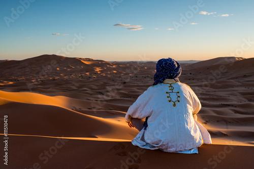 Man looks in the desert Canvas Print
