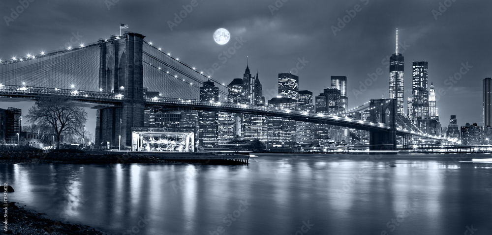 Fototapeta Night panorama of of New York City with the moon in the sky
