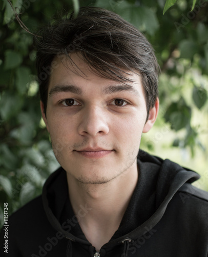 Portrait Of Man With Brown Eyes In The Park Buy This Stock Photo