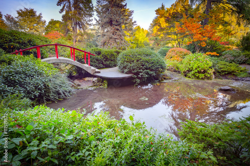 obraz PCV Red bridge in japanese green park in autumn time. Seattle.
