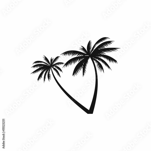 Two coconut palm trees icon, simple style Wall mural