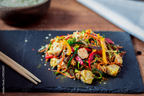 Fotografering Stir Fried Chicken Meat With Various Vegetable