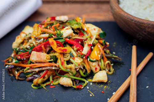 Stir Fried Chicken Meat With Various Vegetable Wallpaper Mural