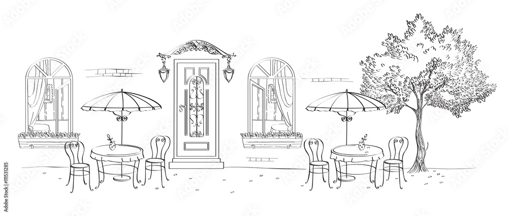 Fototapeta Cafe, restaurant, street cafe with umbrellas, the door under the canopy with lights, windows and wood. Drawing calligraphic pen tool.