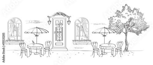 Fototapeta Cafe, restaurant, street cafe with umbrellas, the door under the canopy with lights, windows and wood. Drawing calligraphic pen tool. obraz