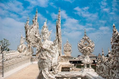 Spoed Foto op Canvas Bedehuis Wat Rong Khun, aka The White Temple. Chiang Rai, Thailand.