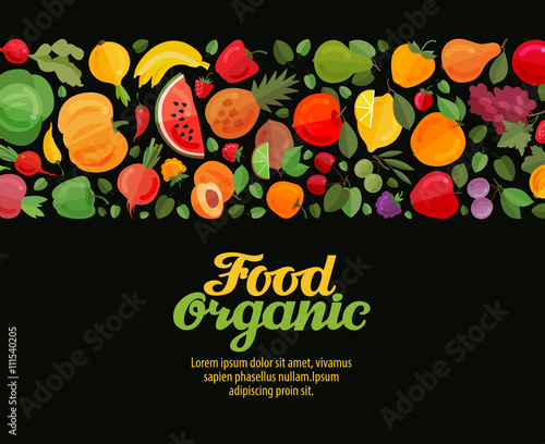 vegetables and fruits vector illustration. organic food - 111540205