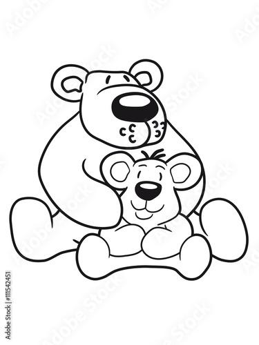 Papa Mama Child Family Son Daughter Team Polar Bear Sitting