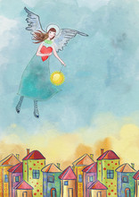 Colorfull Houses And Guardian Angel. Watercolor Illustration. The Dream Of Safety.