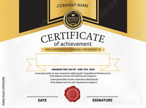 Certificate Gold Black Certificate Template Vector Certificate