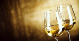 Banner of Two glasses of white wine with copy space - 111554865