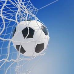 Fototapeta Piłka nożna Fußball im Netz vom Tor vor Himmel