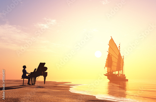 Photo  The  piano on the coast.