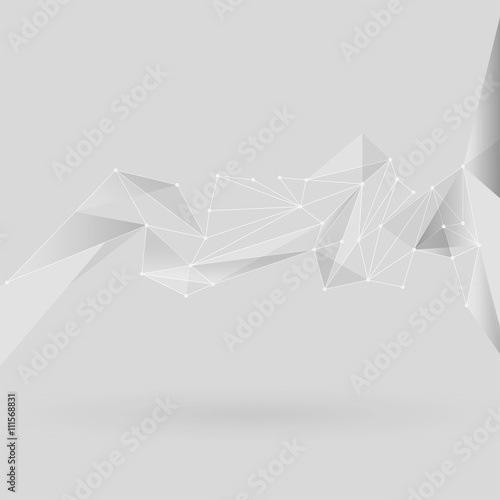 Polygonal abstract low poly light background with white connecting dots and lines.