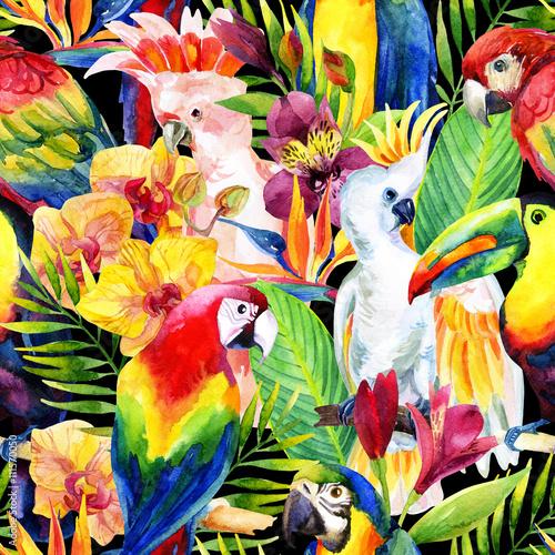 akwarela-papugi-z-tropikalnych-kwiatow-wzor