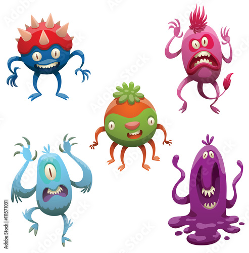 Vector set of funny cartoon monsters. Various monsters of different colors on a white background. Cartoon different monsters. Set of monsters. Vector cartoon monsters. Vector illustration.