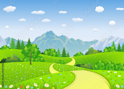 Fotobehang Zwavel geel Summer landscape with meadows and mountains.