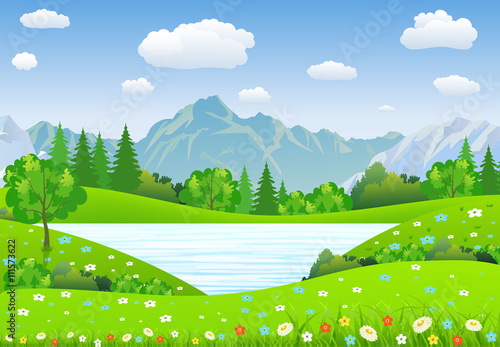Poster Lime groen Summer landscape with meadows and mountains.