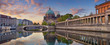 Berlin. Panoramic image of Berlin Cathedral and Museum Island in Berlin during sunrise.