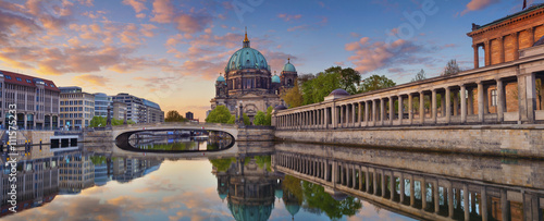 Berlin Berlin. Panoramic image of Berlin Cathedral and Museum Island in Berlin during sunrise.