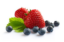Ripe Strawberry And Blueberry