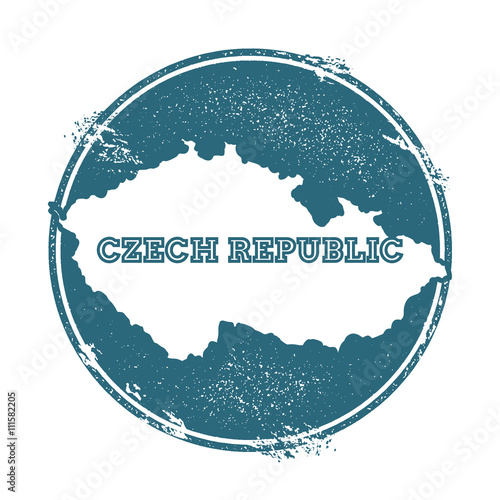 Photo  Grunge rubber stamp with name and map of Czech Republic, vector illustration