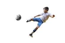 Boy With Soccer Ball, Footballer On The White Background. Isolated