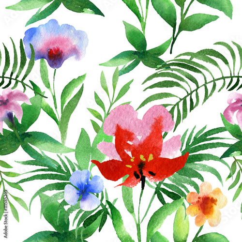 Cotton fabric Watercolor seamless floral pattern